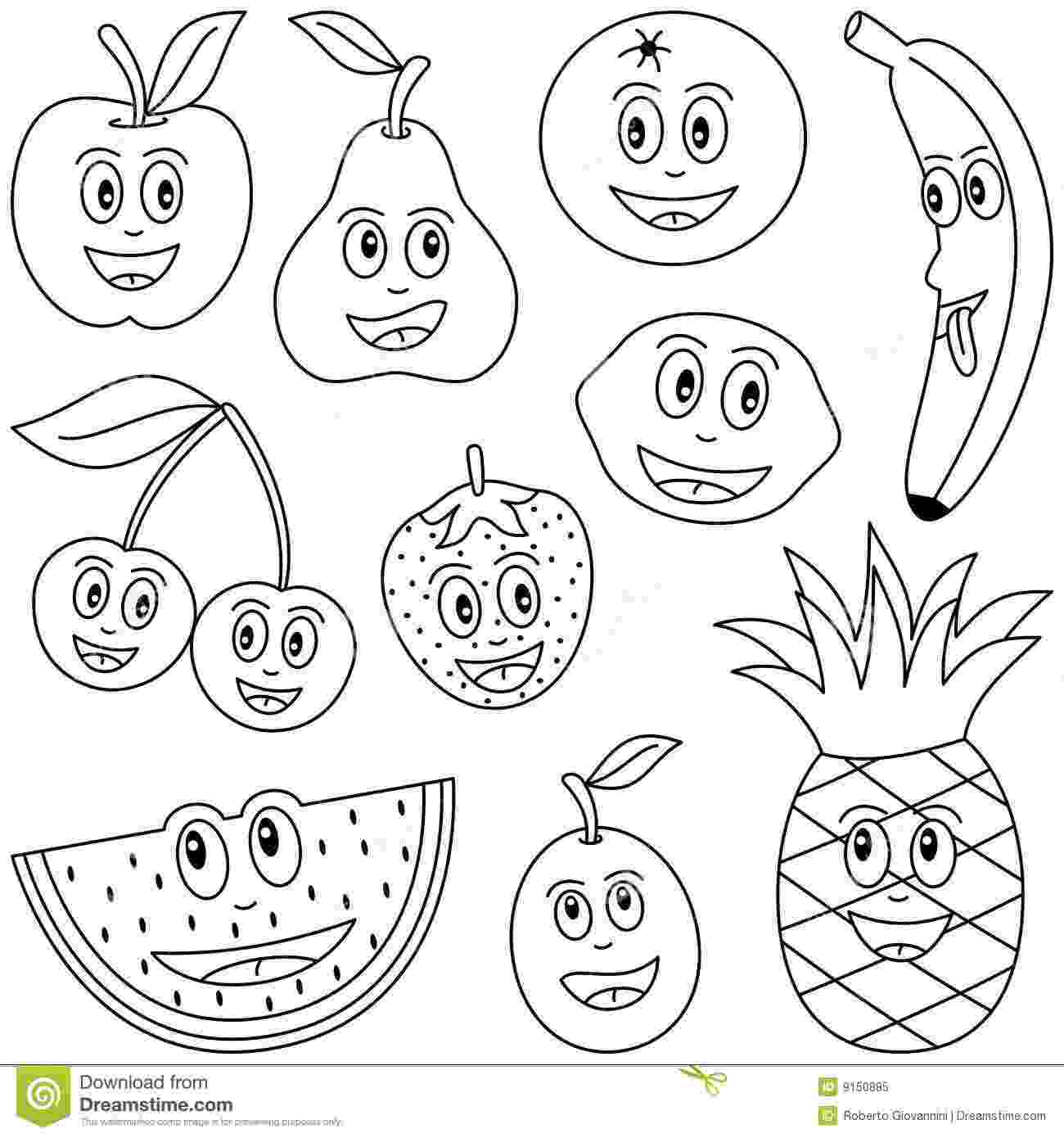 picture of fruits for colouring coloring fruit for kids stock vector illustration of diet for fruits picture colouring of