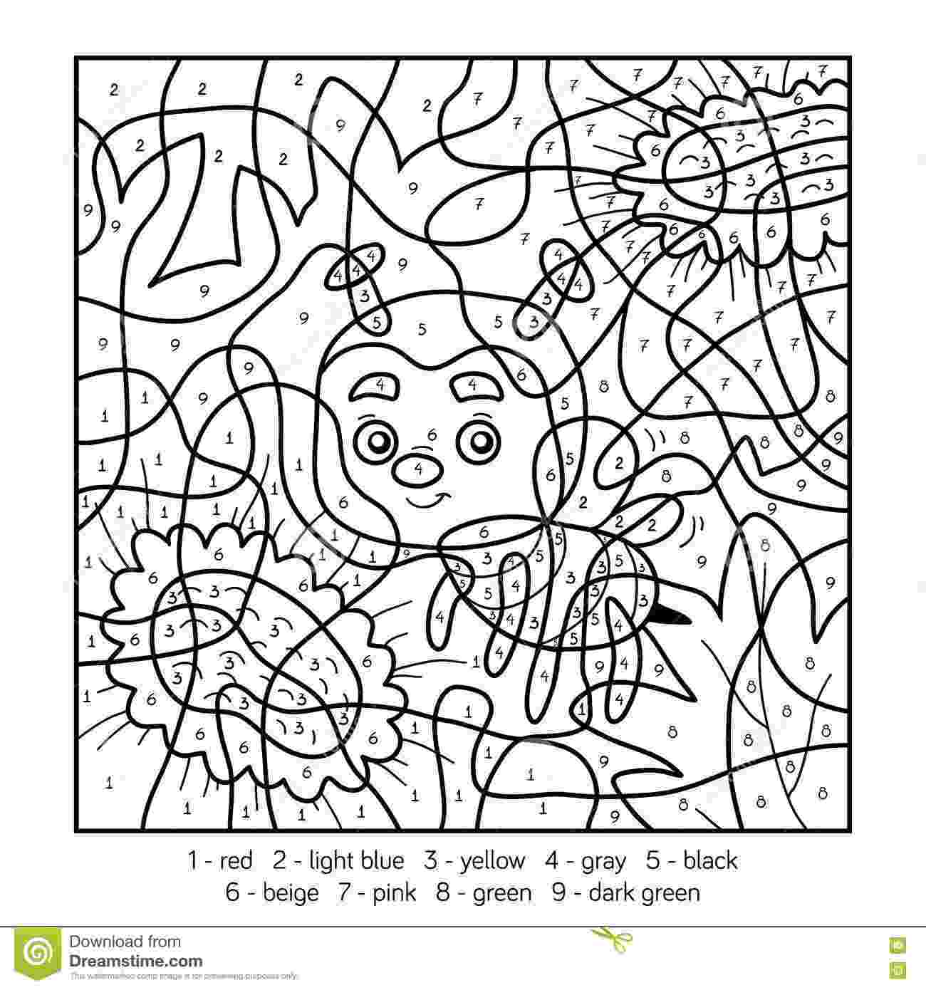 pictures to color by number color by number for children with a bee stock vector color number to by pictures