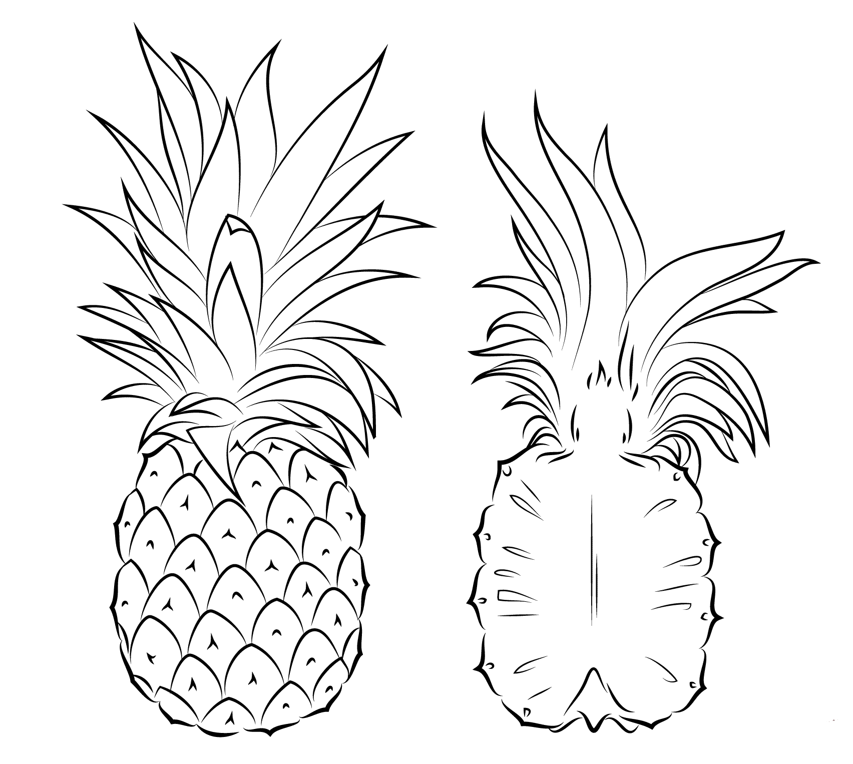 pineapple picture to color printable pineapple coloring pages for kids cool2bkids color picture pineapple to