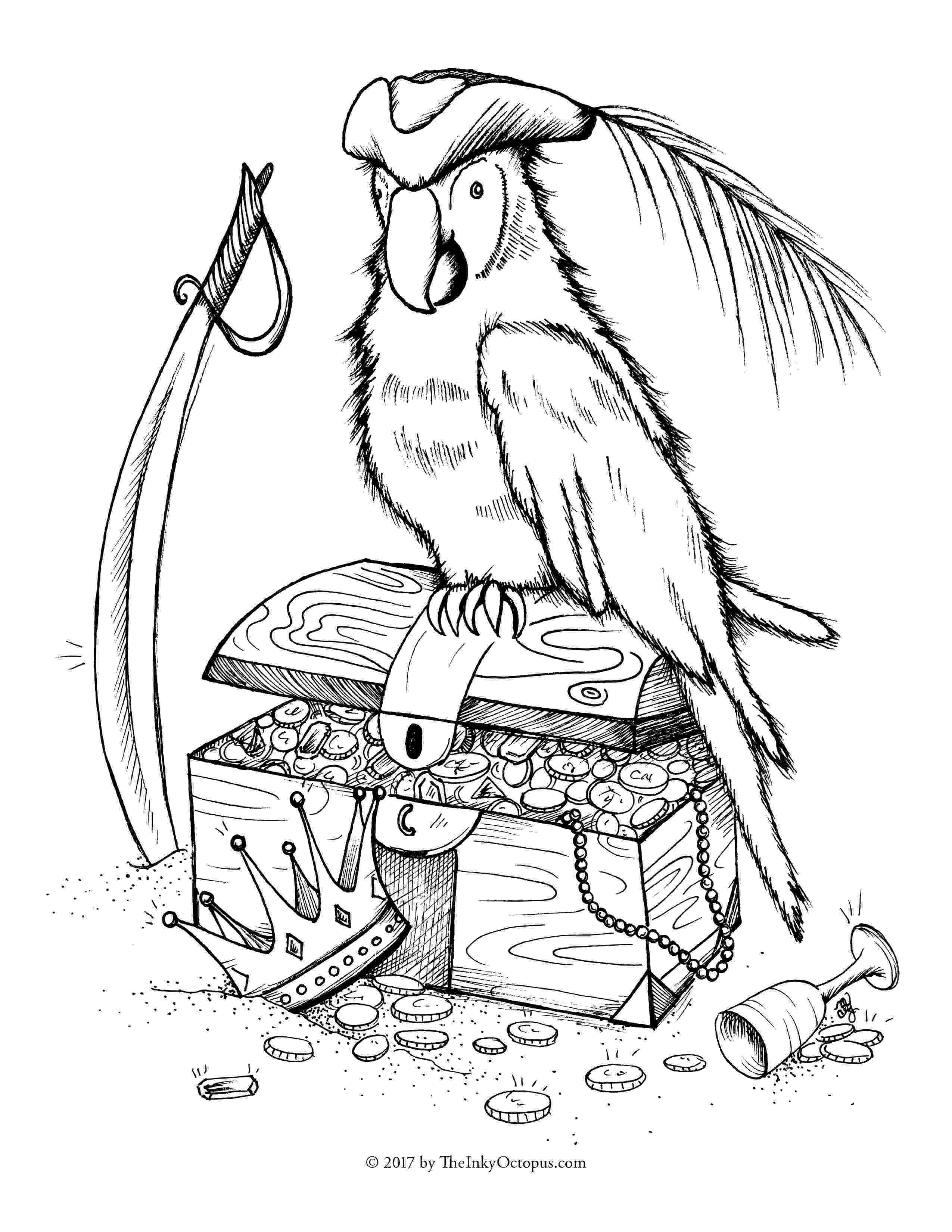 pirate parrot coloring pages pirate parrot drawing at getdrawingscom free for coloring parrot pirate pages