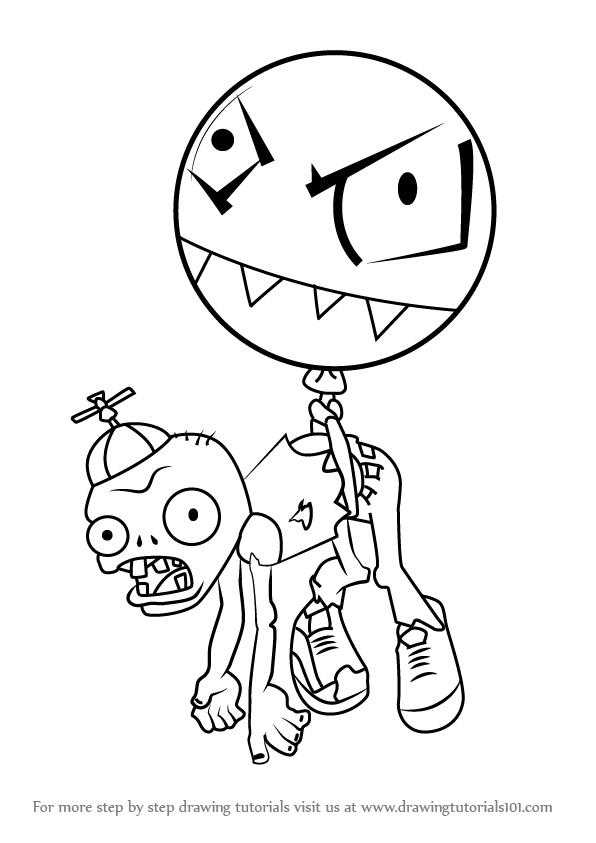 plants vs zombies balloons balloon zombie coloring page free plants vs zombies plants balloons vs zombies
