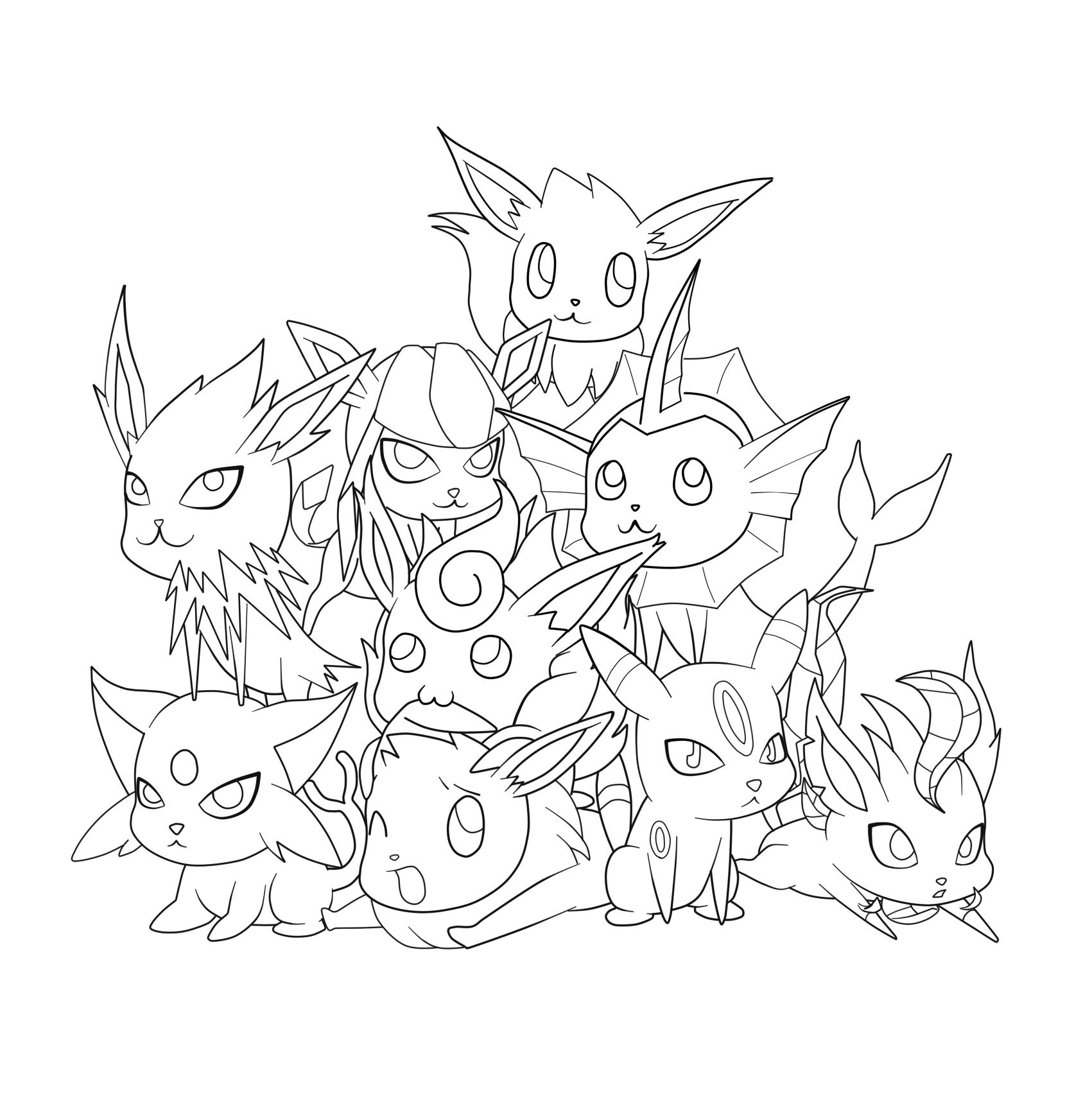 pokemon coloring pages eevee evolutions eeveelution pile spk by beautikillz on deviantart pokemon eevee coloring evolutions pages