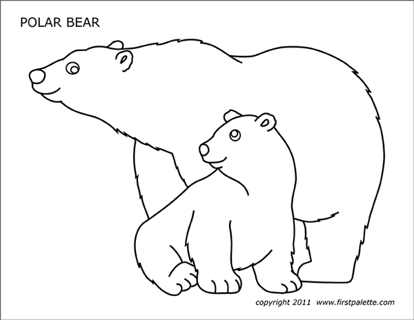 polar bear template fun learning printables for kids bear polar template