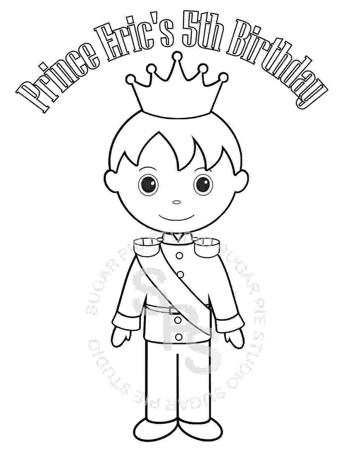 prince colouring personalized printable princess prince knight birthday party prince colouring