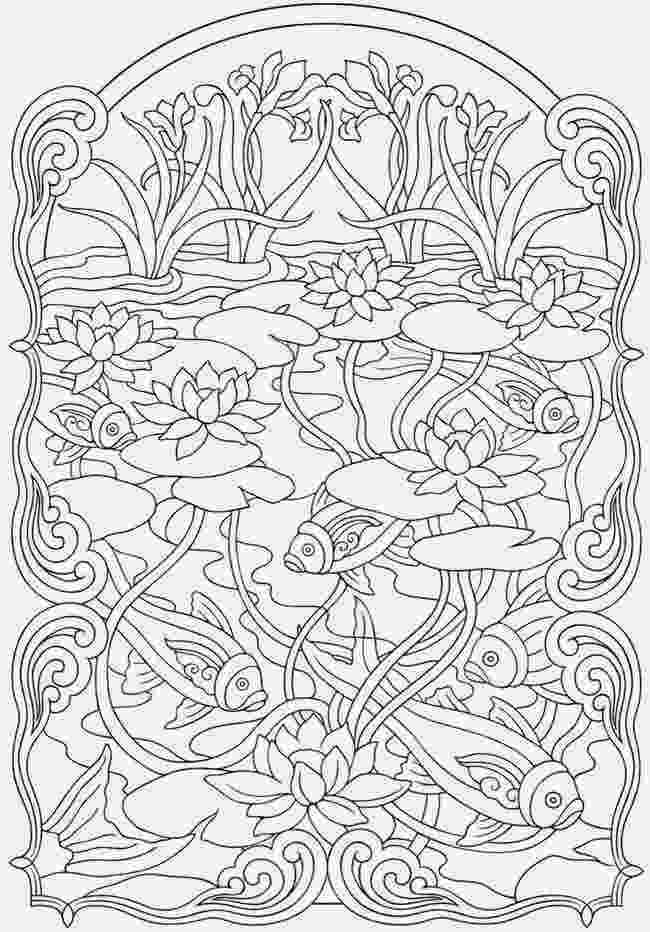 printable detailed coloring pages koi fish coloring pages anti stress coloring for adult printable coloring pages detailed