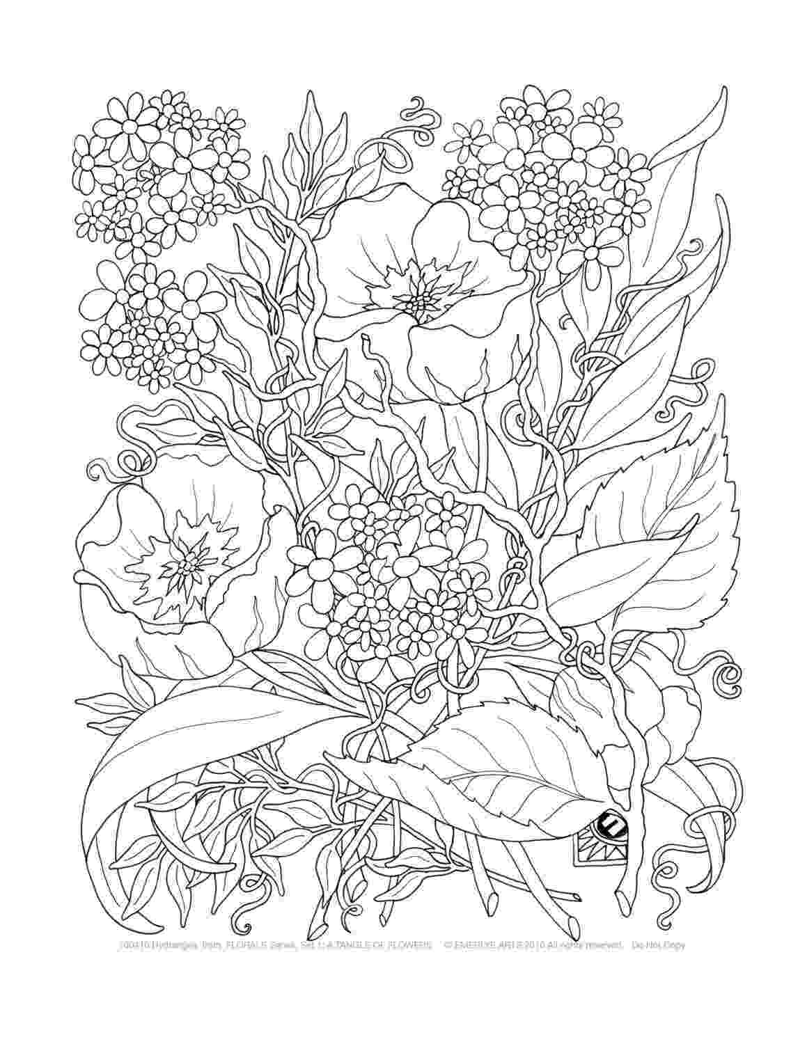 printable flower coloring pages for adults adult coloring a tangle of flowers set of 8 by emerlyearts coloring for printable adults flower pages