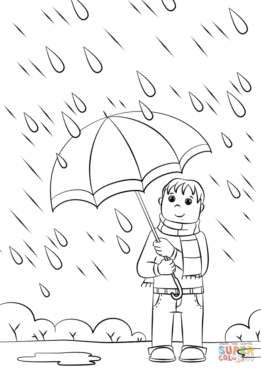 rainy day coloring pages for preschoolers boy with his umbrella and rain jacket under the spring for preschoolers coloring day pages rainy