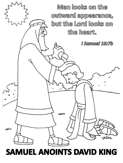 samuel anoints david king coloring page samuel anointing david as king coloring pages sketch page coloring anoints samuel david king