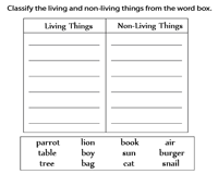 science worksheets for grade 1 living and nonliving things living or non living a pocket chart activity and nonliving worksheets things for living grade science 1 and