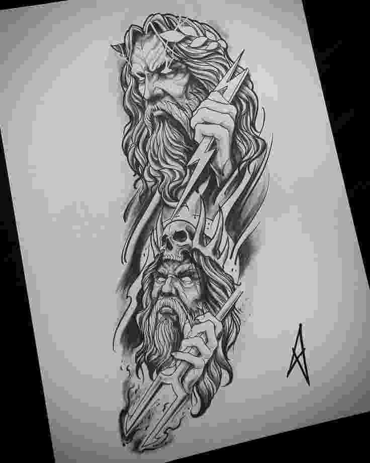 sketch of zeus zeus hades tattoo zeus hades tattoo sketch of zeus