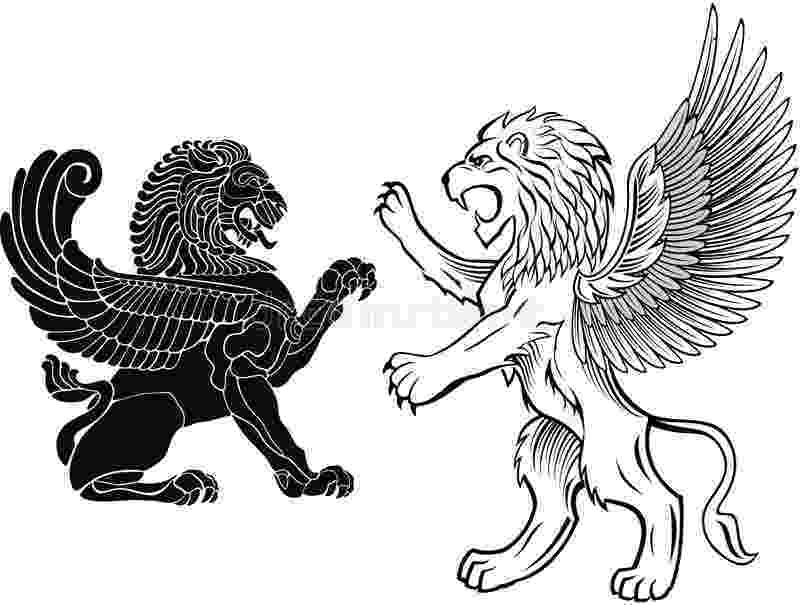 standing lion standing and winged lion stock vector illustration of standing lion