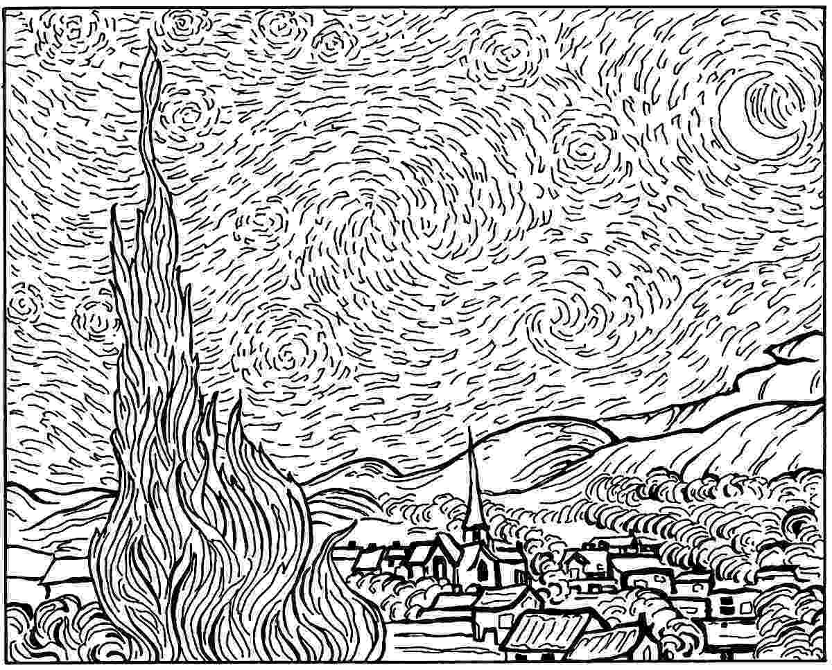 starry night coloring page 29 best starry night images on pinterest starry nights page starry night coloring