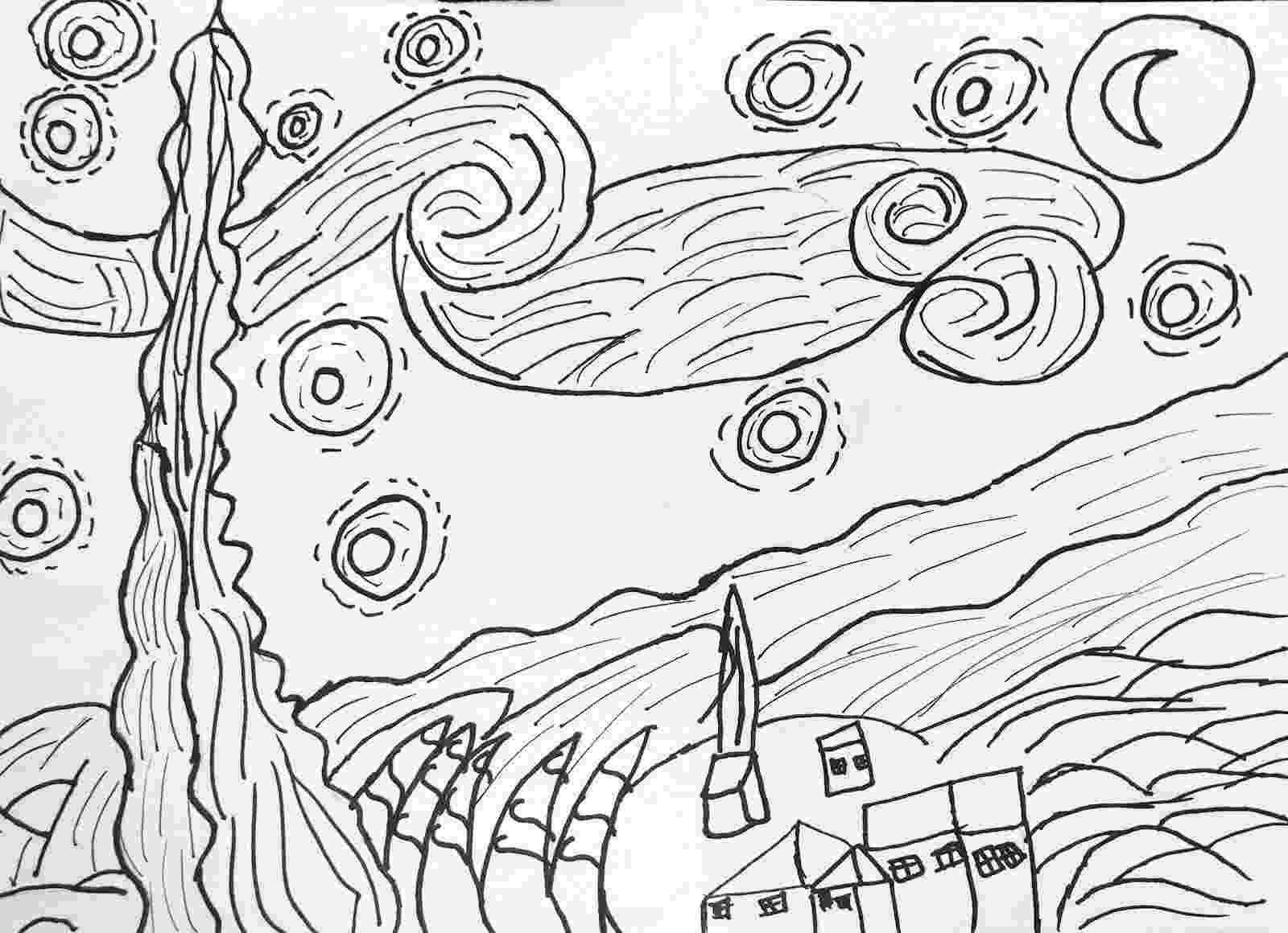 starry night coloring page 51 best images about van gogh on pinterest starry nights night page coloring starry