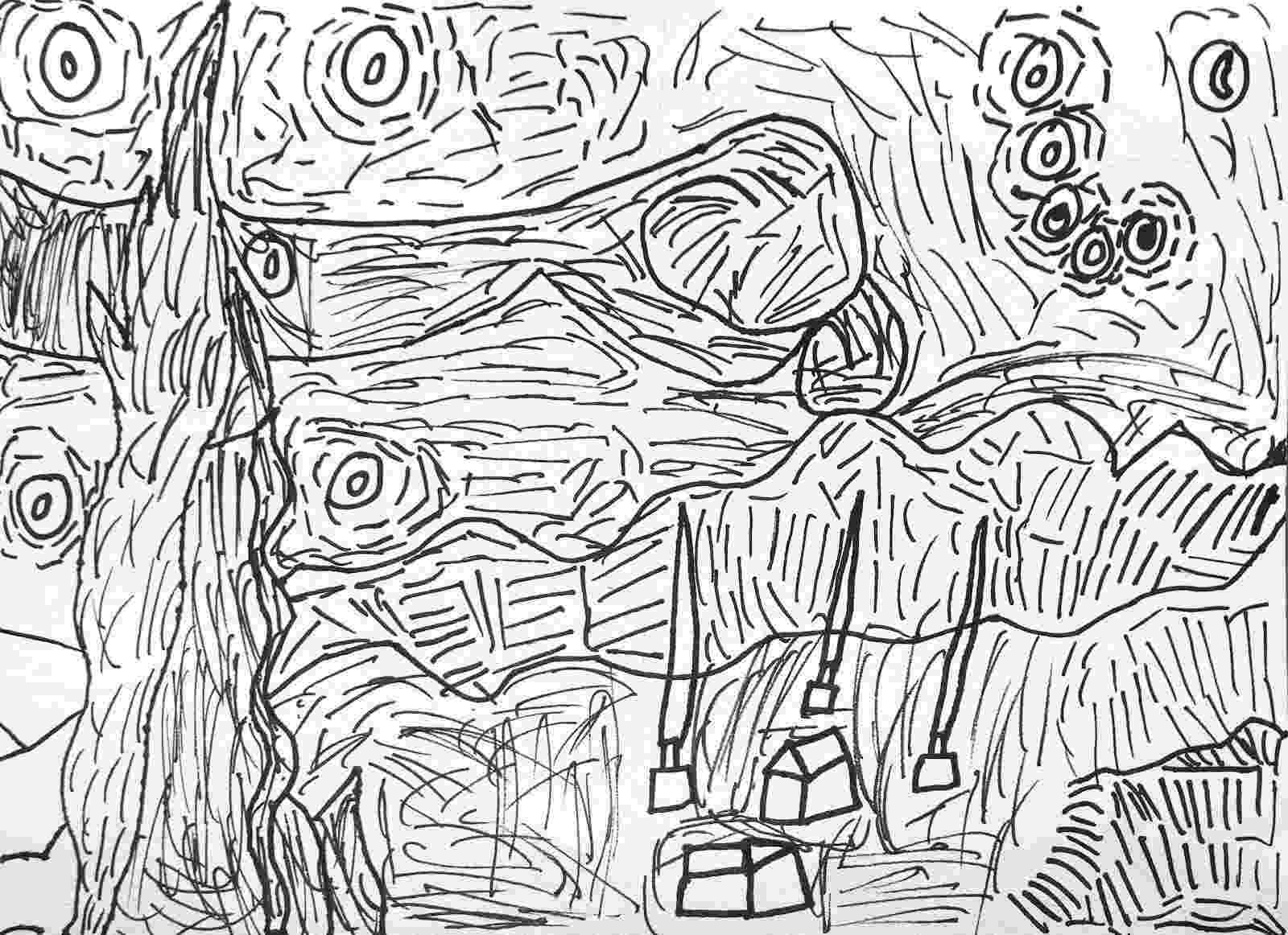 starry night coloring page impressionist art stained glass coloring book starry page starry night coloring
