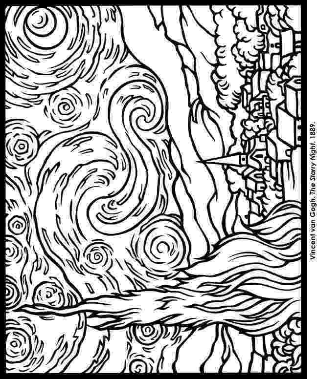 starry night coloring page rl arts van gogh starry night contour page night coloring starry
