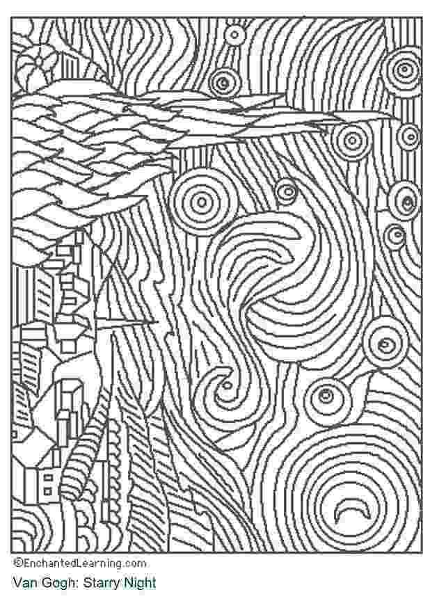 starry night coloring page rl arts van gogh starry night contour starry night page coloring