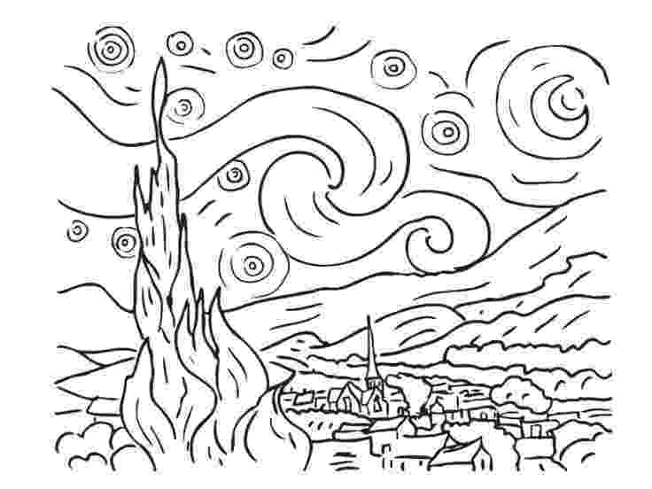 starry night coloring page vincent van gogh starry starry night coloring famous page coloring night starry