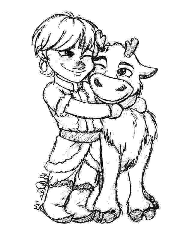 sven coloring pages little kristoff hug his bestfriend sven coloring pages pages coloring sven