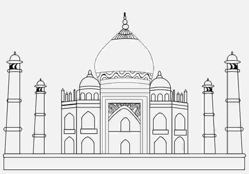 taj mahal sketch taj mahal 7th wonder of the world coloring page template sketch taj mahal