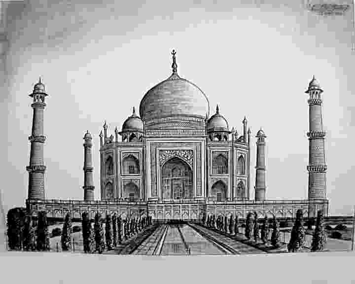 taj mahal sketch taj mahal agra india shwetabh arts drawings taj mahal sketch