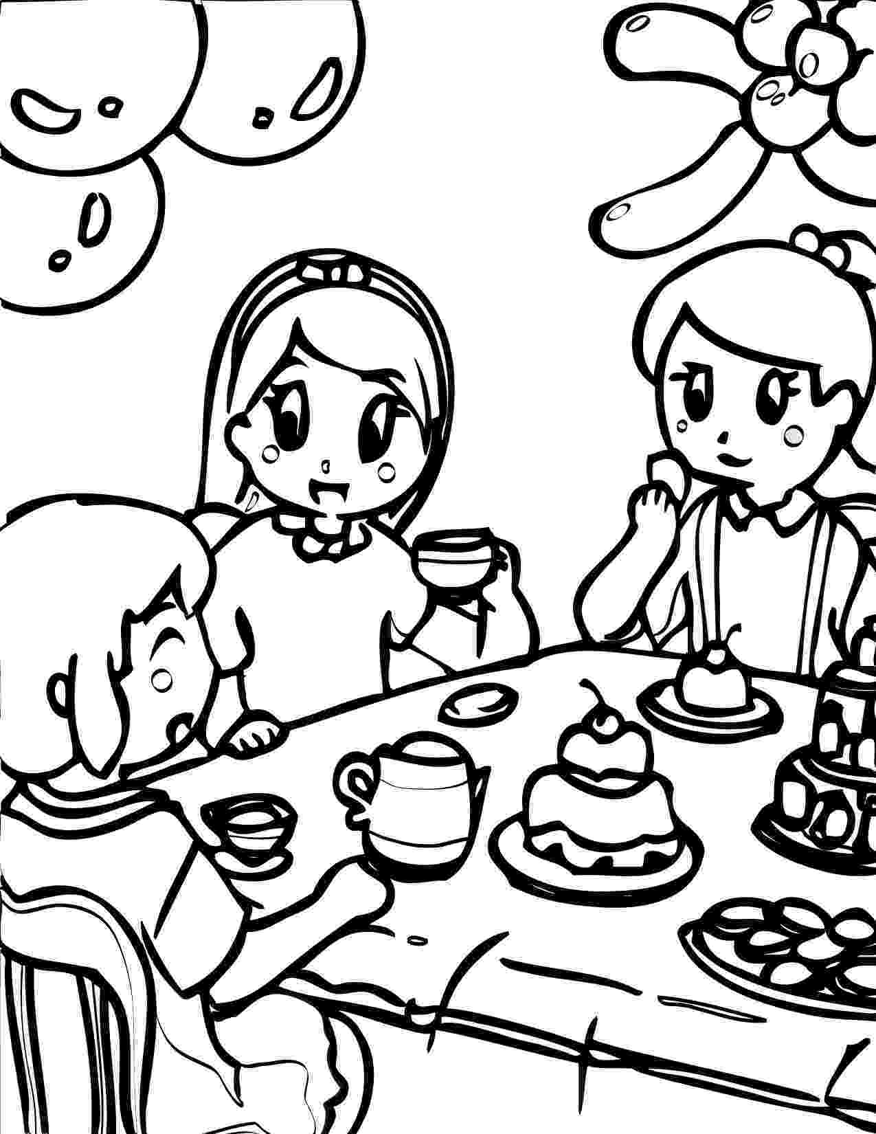 tea party coloring pages american girl tea party ideas kids tea party birthday party coloring pages tea