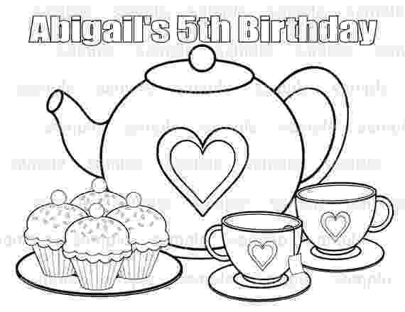 tea party coloring pages printable personalized tea party birthday party favor coloring pages party tea