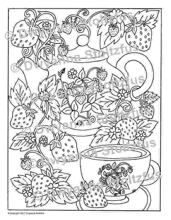 tea party coloring pages strawberry tea party coloring page jpg etsy coloring party pages tea