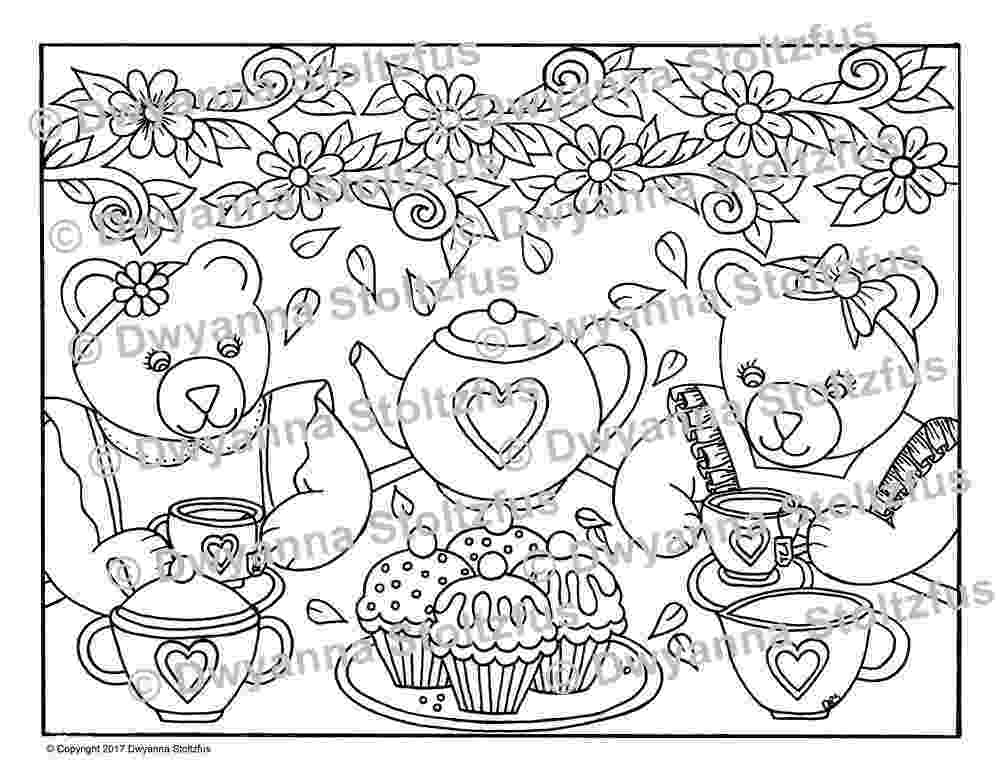 tea party coloring pages teddy bear tea party coloring page jpg etsy tea party pages coloring