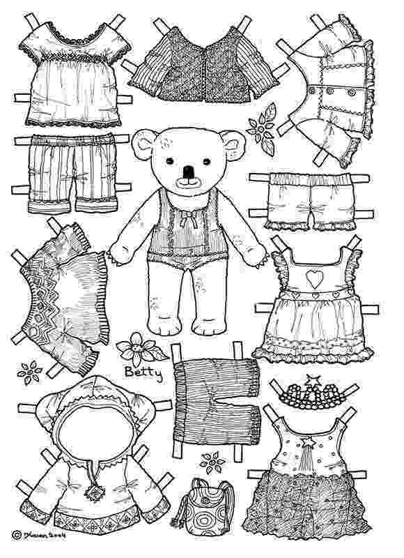 teddy bear paper dolls girl bear paper doll coloring page colouring pages paper dolls bear teddy