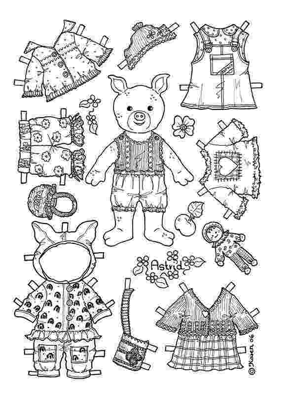 teddy bear paper dolls girl pig paper doll coloring page coloring pages dolls paper bear teddy