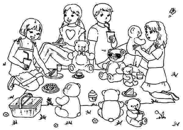 teddy bears picnic colouring bring your teddy bears at family picnic coloring pages picnic teddy bears colouring