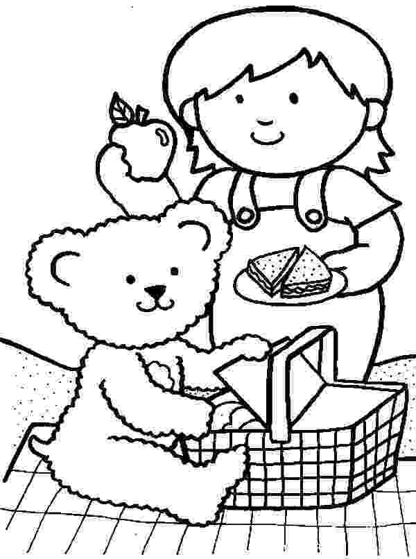 teddy bears picnic colouring me and my teddy bear at family picnic coloring pages netart bears picnic colouring teddy