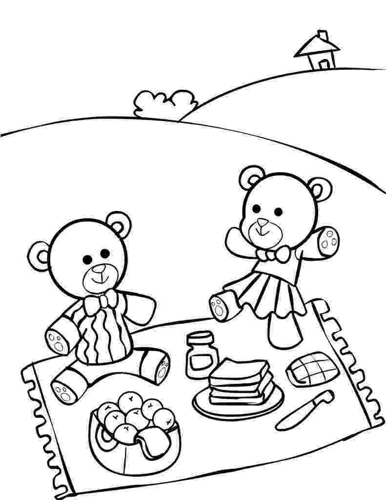 teddy bears picnic colouring teddy bear picnic coloring pages for kids it39s a teddy picnic teddy colouring bears