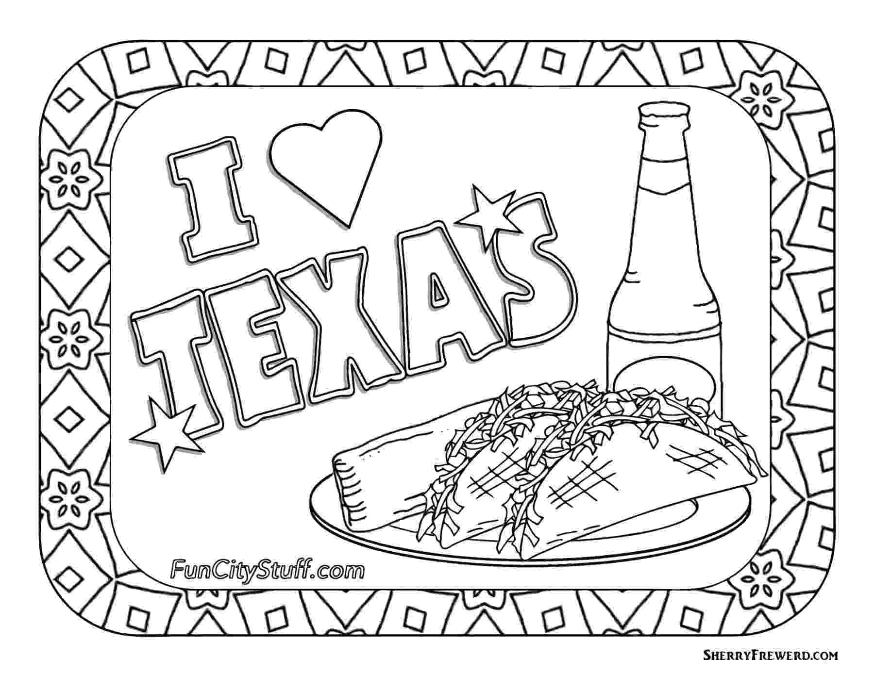 texas coloring page color your cares away texas style funcity stuff dfw texas coloring page