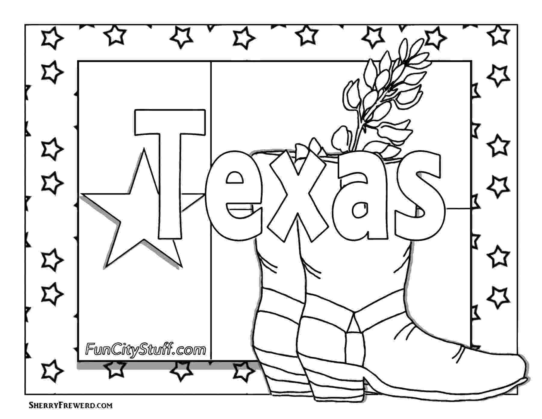 texas coloring page usa printables state outline shape and demographic map coloring texas page