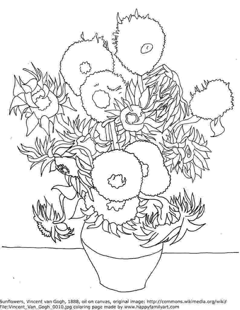 van gogh sunflowers coloring page 1000 images about van gogh art on pinterest starry page gogh sunflowers van coloring