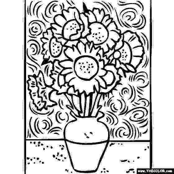 van gogh sunflowers coloring page coloring page sunflowers free printable coloring pages coloring sunflowers page van gogh
