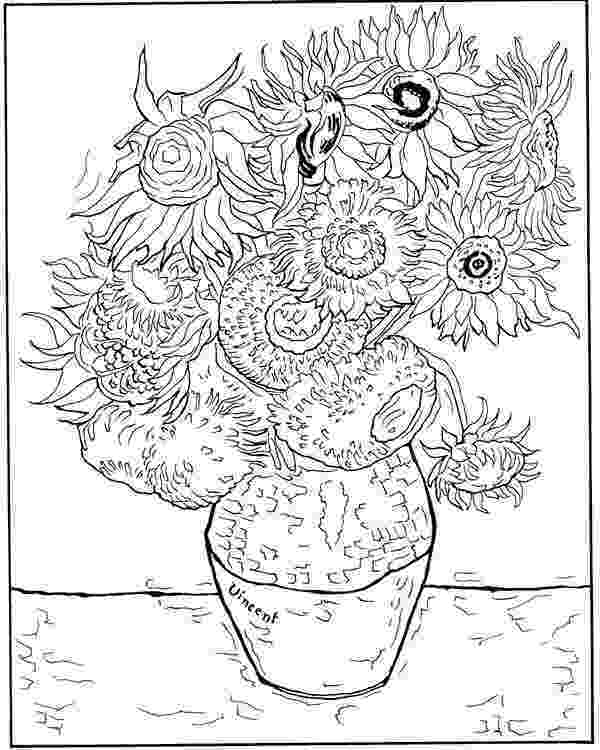 van gogh sunflowers coloring page my three seeds of joy homeschool van gogh quotsunflowersquot van gogh sunflowers coloring page