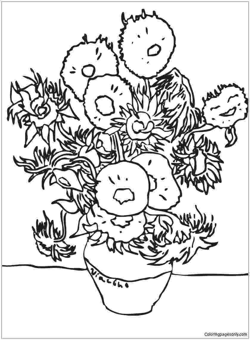 van gogh sunflowers coloring page quotsunflowersquot by van gogh collaborative activity coloring coloring gogh van sunflowers page
