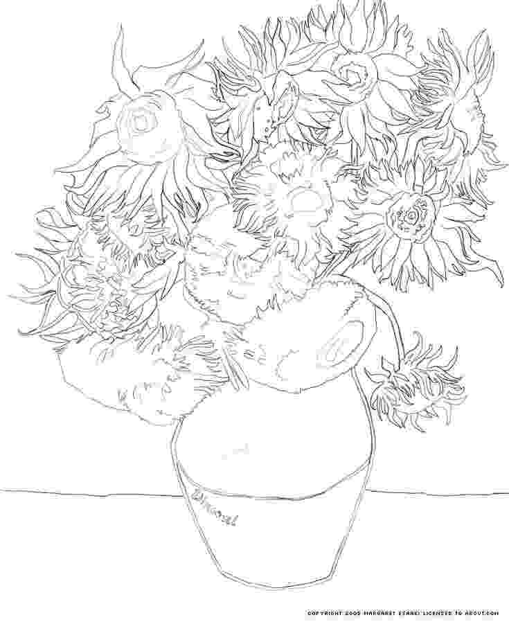 van gogh sunflowers coloring page sunflowers coloring page coloring pages vans and sunflowers coloring page gogh van sunflowers