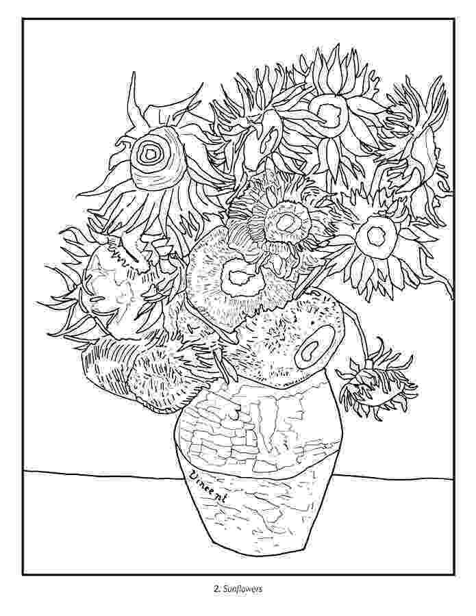 van gogh sunflowers coloring page vincent van gogh coloring book page gogh sunflowers coloring van