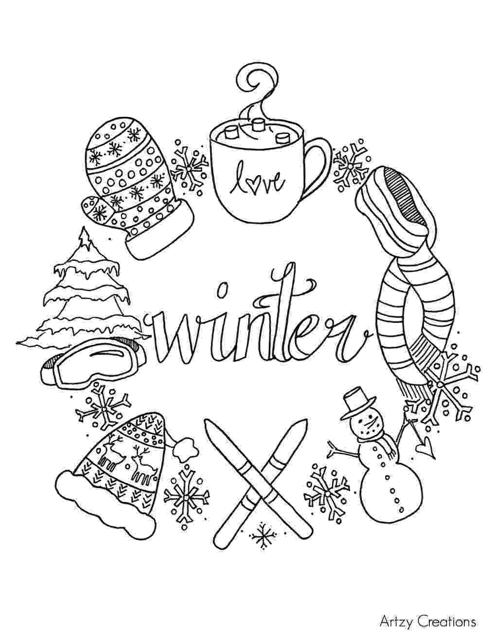 winter printable coloring pages free winter coloring page artzycreationscom coloring winter printable pages