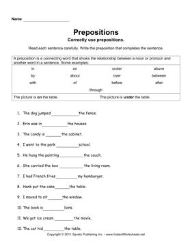 worksheet for grade 1 preposition 17 best images of college sentence worksheet preposition grade for worksheet 1