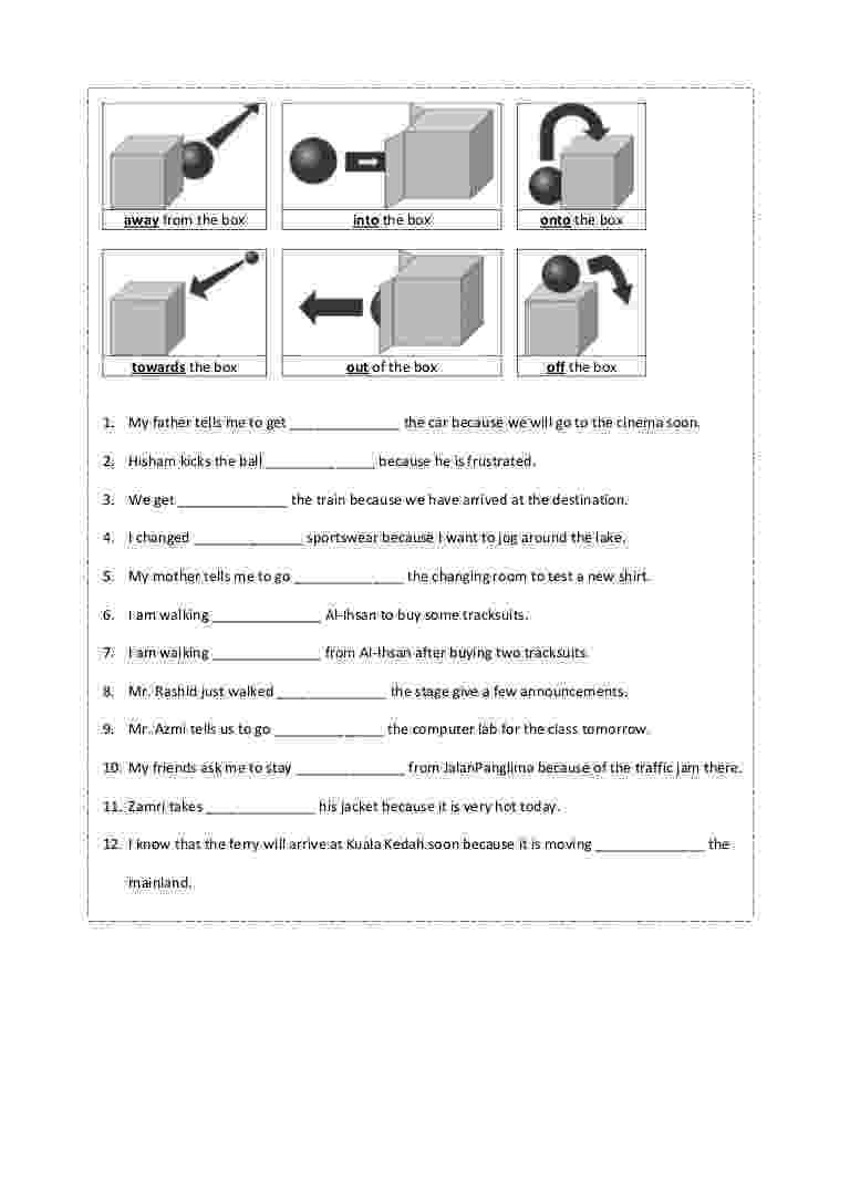 worksheet for grade 1 preposition prepositions language colors and cut and paste grade 1 preposition for worksheet